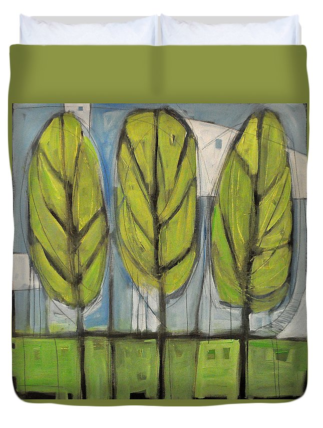 Trees Duvet Cover featuring the painting the Four Seasons - spring by Tim Nyberg