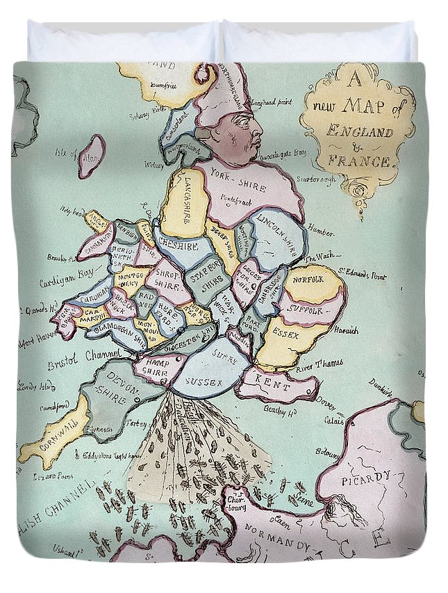 History Duvet Cover featuring the drawing The French Invasion by James Gillray