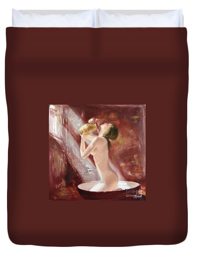 Oil Duvet Cover featuring the painting The Freshness by Sergey Ignatenko