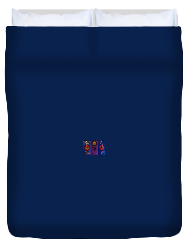 The Drums Of The Fruit Machine Stop At Random. Triptych Duvet Cover featuring the painting The Fruit Machine Stops II by Charles Stuart
