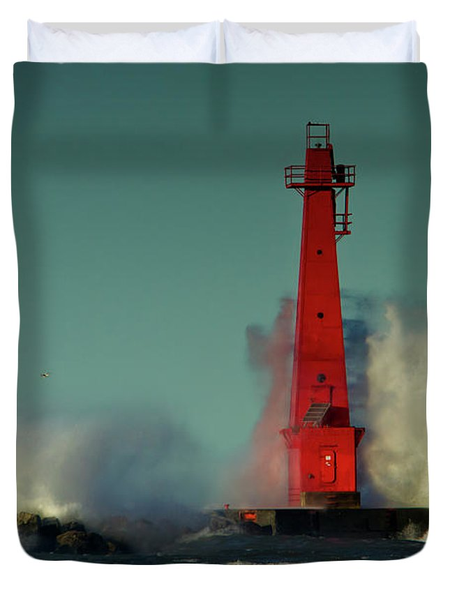 Photography Duvet Cover featuring the photograph The Gale Of October II by Frederic A Reinecke
