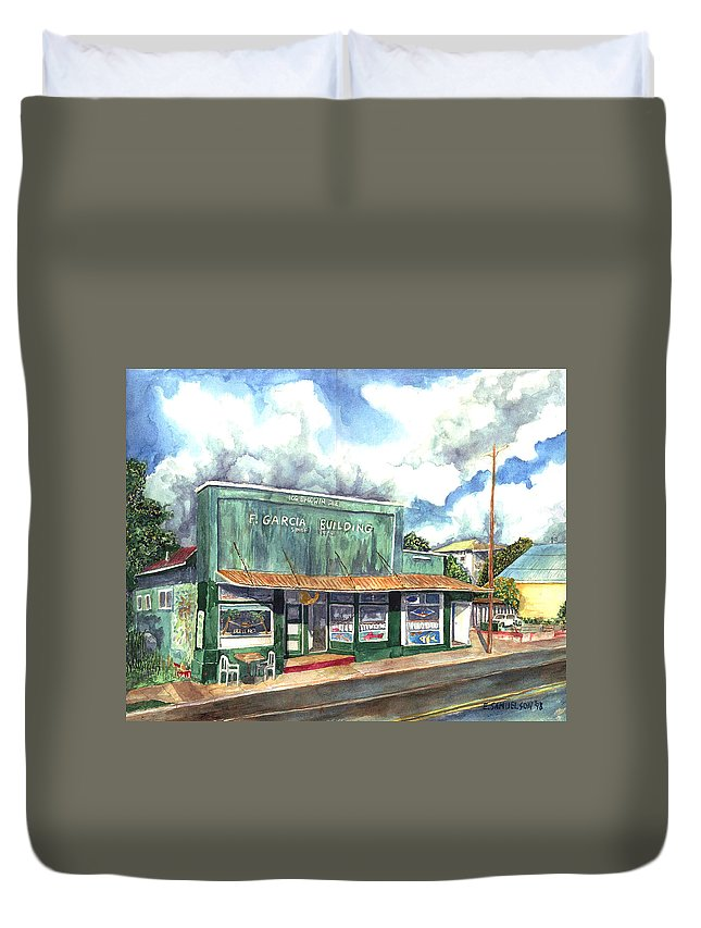 Maui Duvet Cover featuring the painting The Garcia Building by Eric Samuelson
