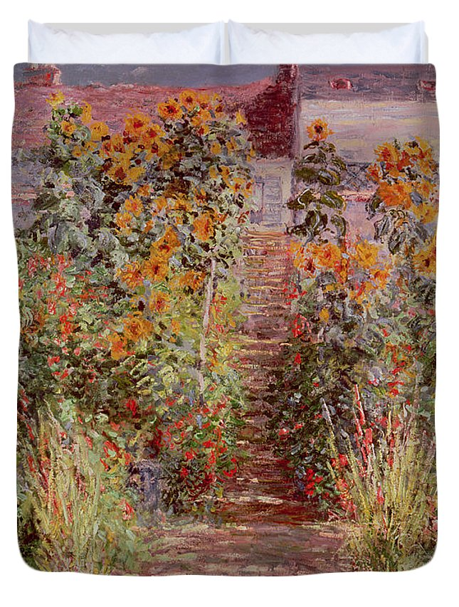 The Garden At Vetheuil Duvet Cover Featuring The Painting The Garden At  Vetheuil By Claude Monet