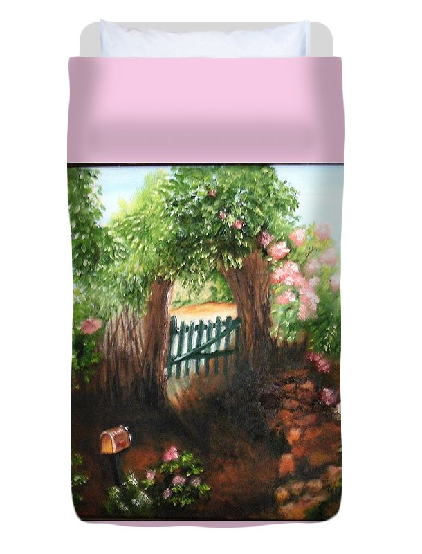 Garden Duvet Cover featuring the painting The Garden Gate by Maria Mills