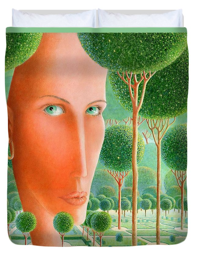 Giuseppe Mariotti Duvet Cover featuring the painting The Garden by Giuseppe Mariotti