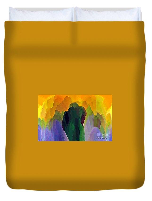Garden Duvet Cover featuring the digital art The Gardener by Shelley Jones