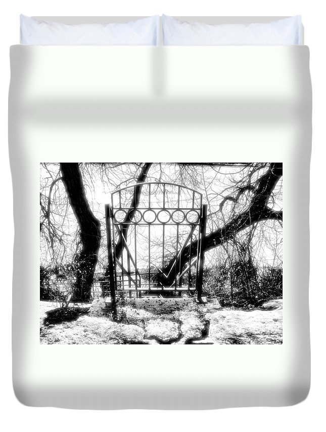 Gate Duvet Cover featuring the photograph The Gate by Susan Kinney