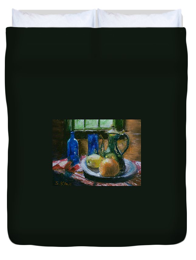 Origianl Duvet Cover featuring the painting The Gathering by Stephen King