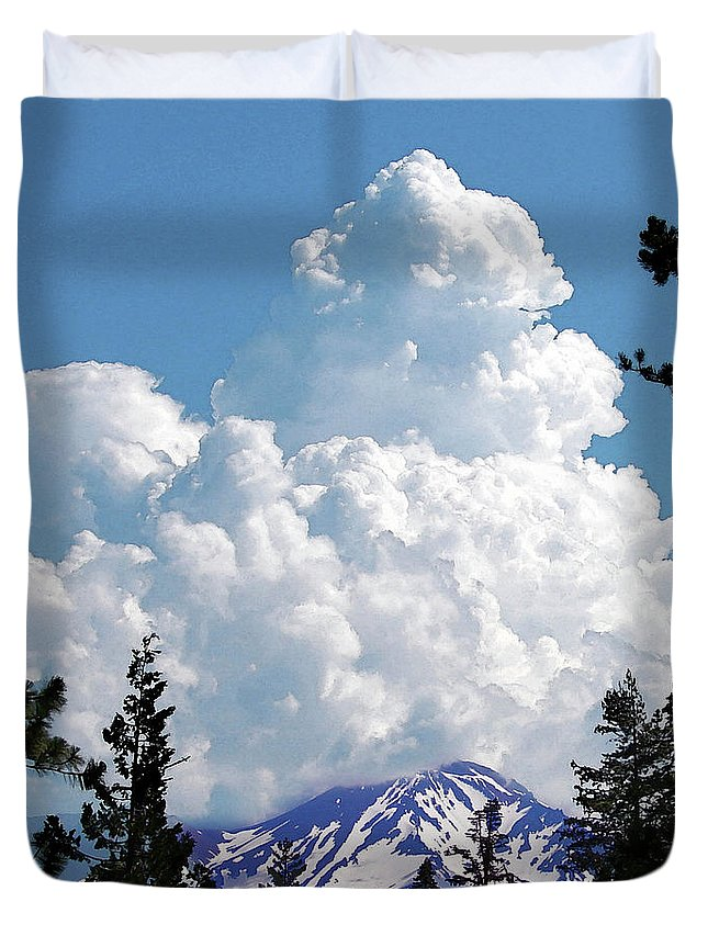 Mountain Duvet Cover featuring the digital art The Gathering by Vicki Lea Eggen