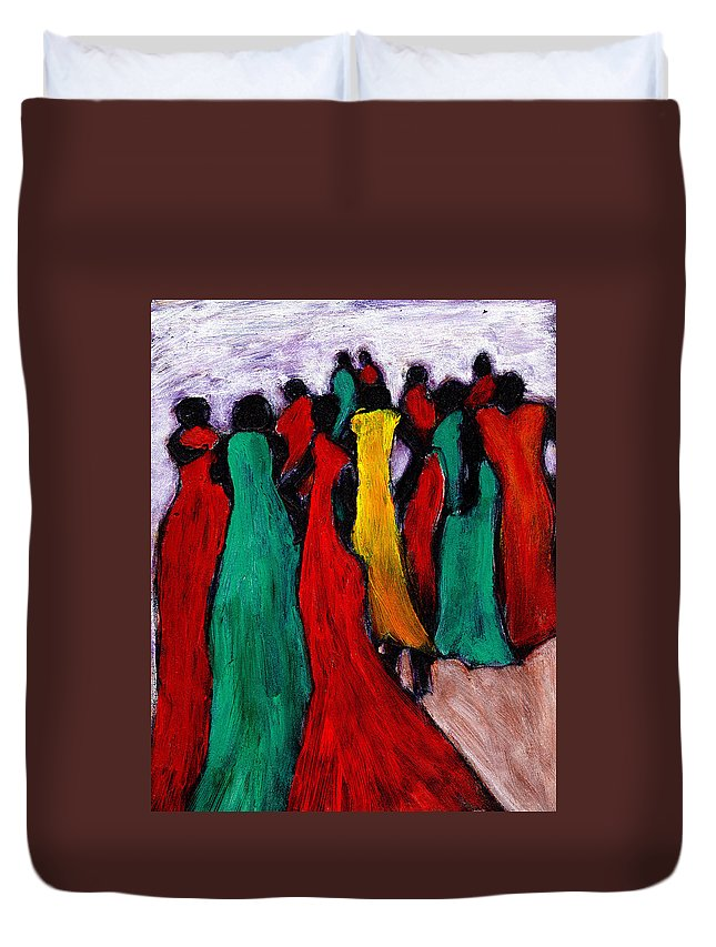 Black Art Duvet Cover featuring the painting The Gathering by Wayne Potrafka