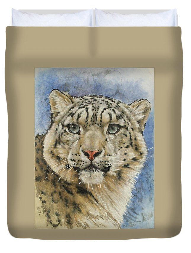 Snow Loepard Duvet Cover featuring the mixed media The Gaze by Barbara Keith