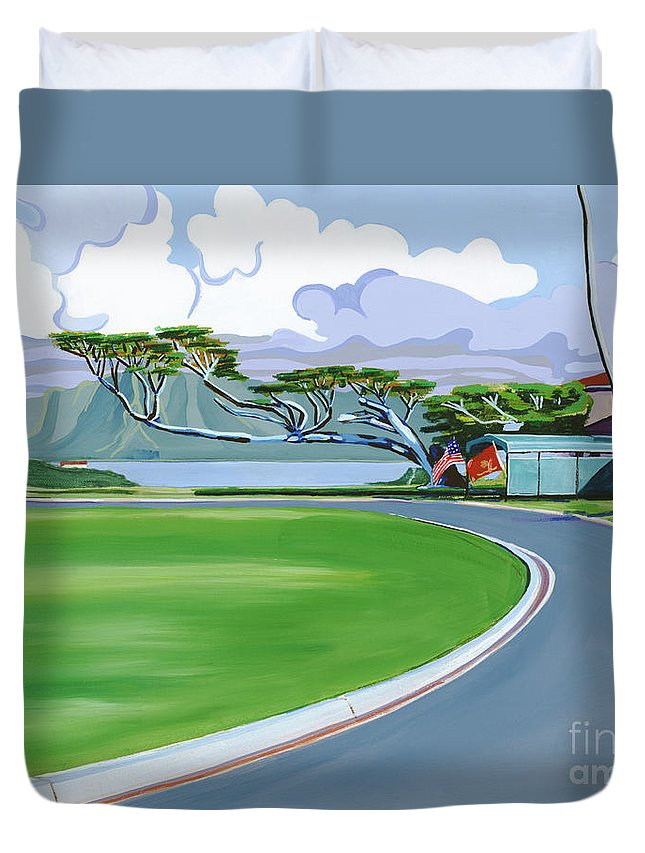 Acrylic Duvet Cover featuring the painting The Generals House by Patti Bruce - Printscapes