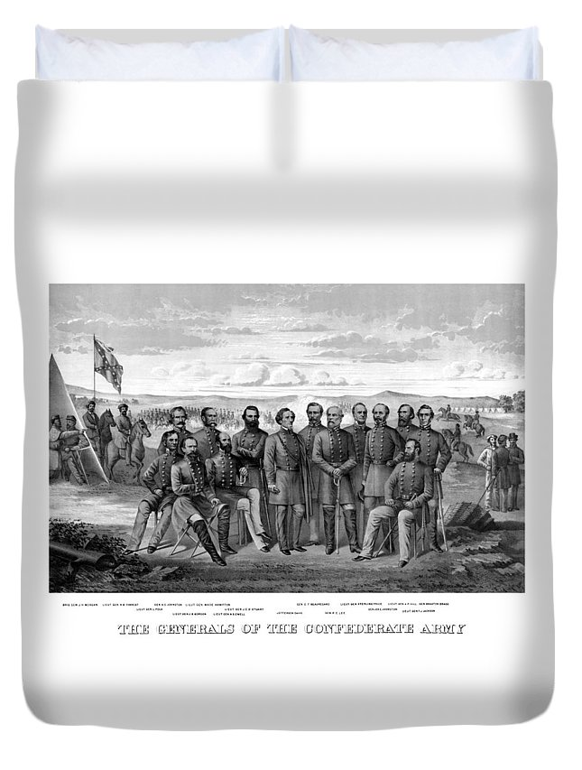 Civil War Duvet Cover featuring the mixed media The Generals Of The Confederate Army by War Is Hell Store