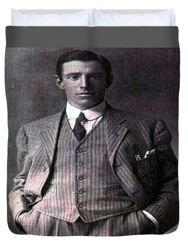 Old Photo Black And White Classic Saskatchewan Pioneers History Gentleman Man Men Duvet Cover featuring the photograph The Gent by Andrea Lawrence