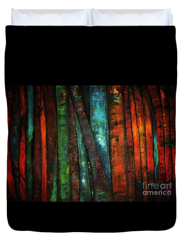 Trees Duvet Cover featuring the painting The Giants Two by Sidra Myers