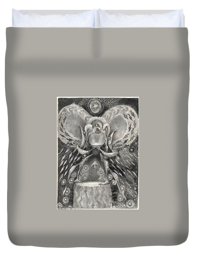 The Gift Duvet Cover featuring the drawing The Gift II by Juel Grant