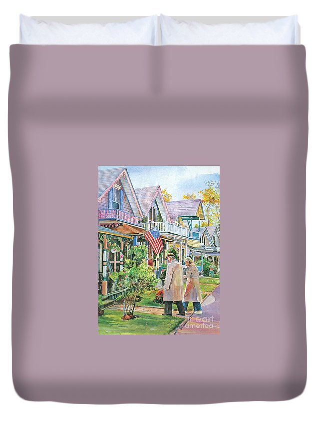 Gingerbread Cottages Duvet Cover featuring the painting The Gingerbread Cottages by P Anthony Visco