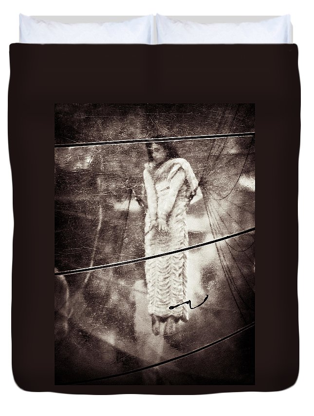 Girl Duvet Cover featuring the photograph The Girl In The Bubble by Dave Bowman