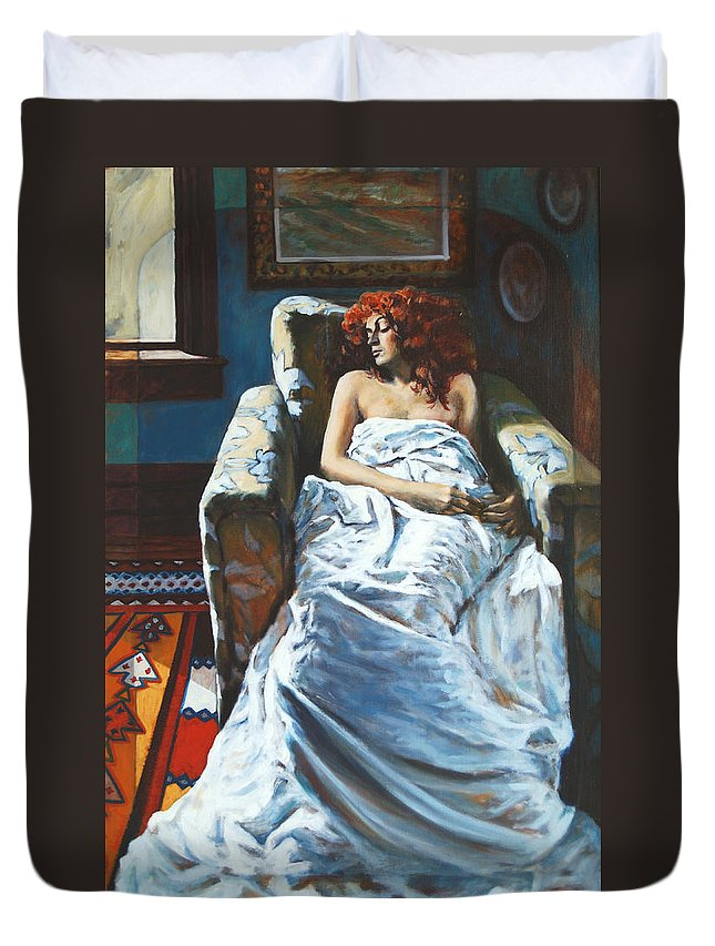 Window Duvet Cover featuring the painting The Girl In The Chair by Rick Nederlof