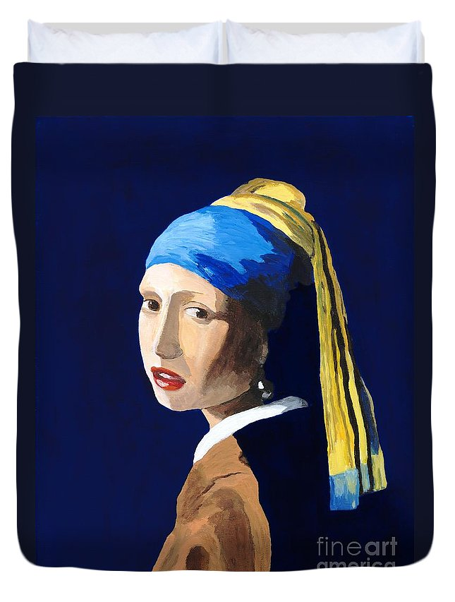 Vermeer Duvet Cover featuring the painting The Girl With A Pearl Earring After Vermeer by Rodney Campbell
