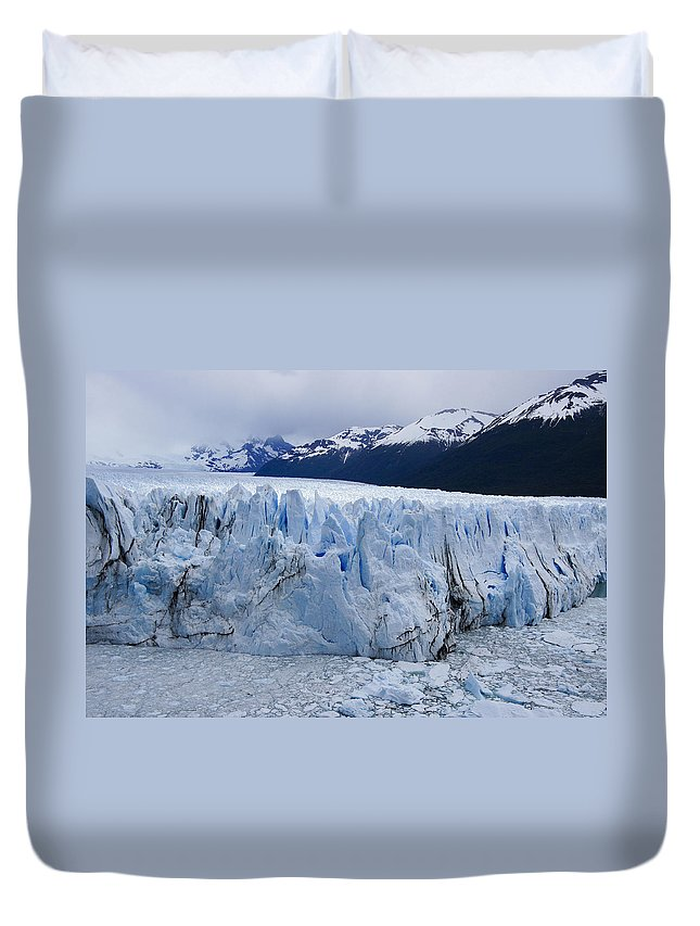 Argentina Duvet Cover featuring the photograph The Glacier Advances by Michele Burgess