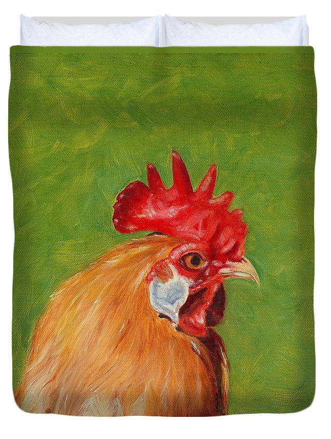 Rooster Duvet Cover featuring the painting The Gladiator by Paula Emery