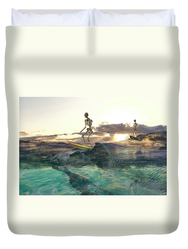 Skeleton Duvet Cover featuring the digital art The Glass Ocean by Betsy Knapp