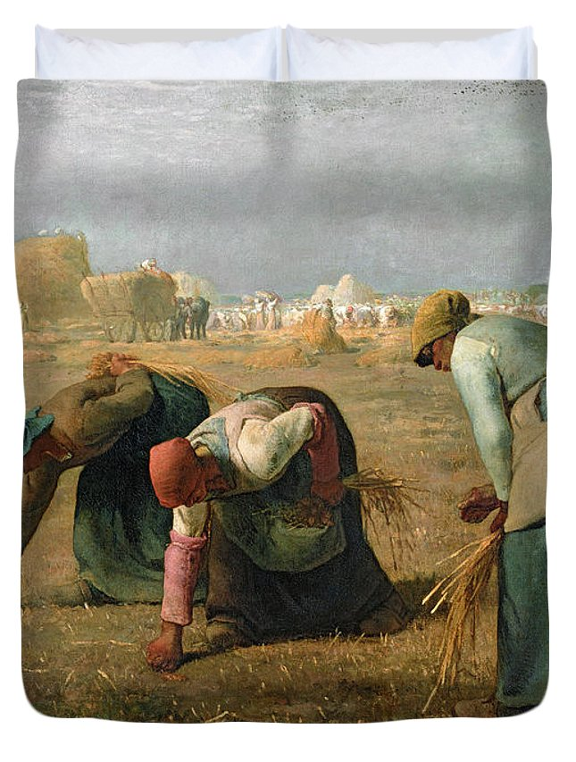 The Duvet Cover featuring the painting The Gleaners by Jean Francois Millet