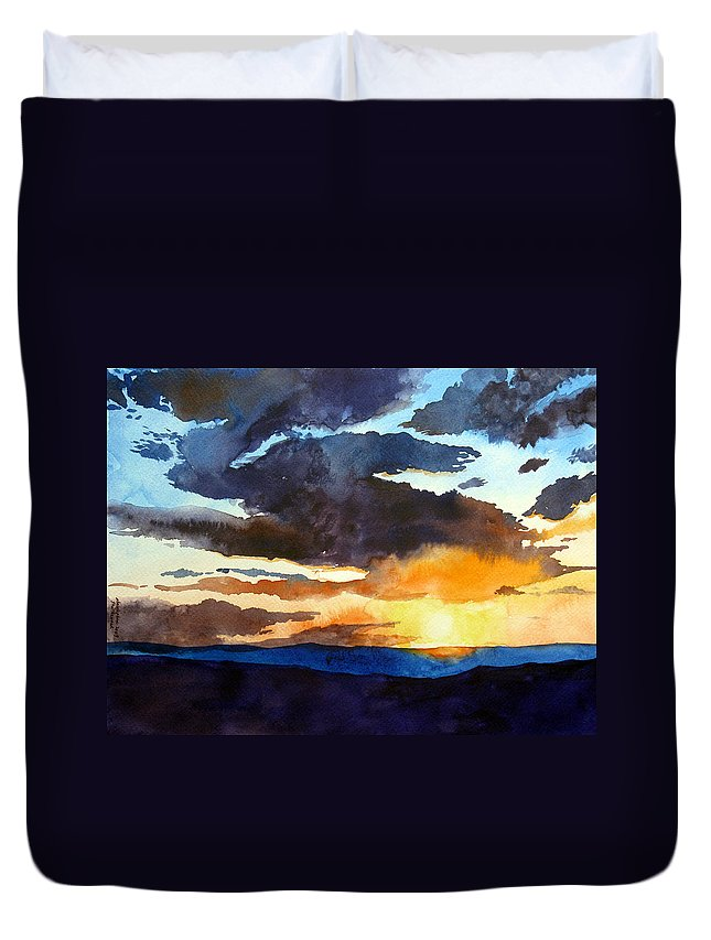 Sunset Duvet Cover featuring the painting The Glory Of The Sunset by Christopher Shellhammer