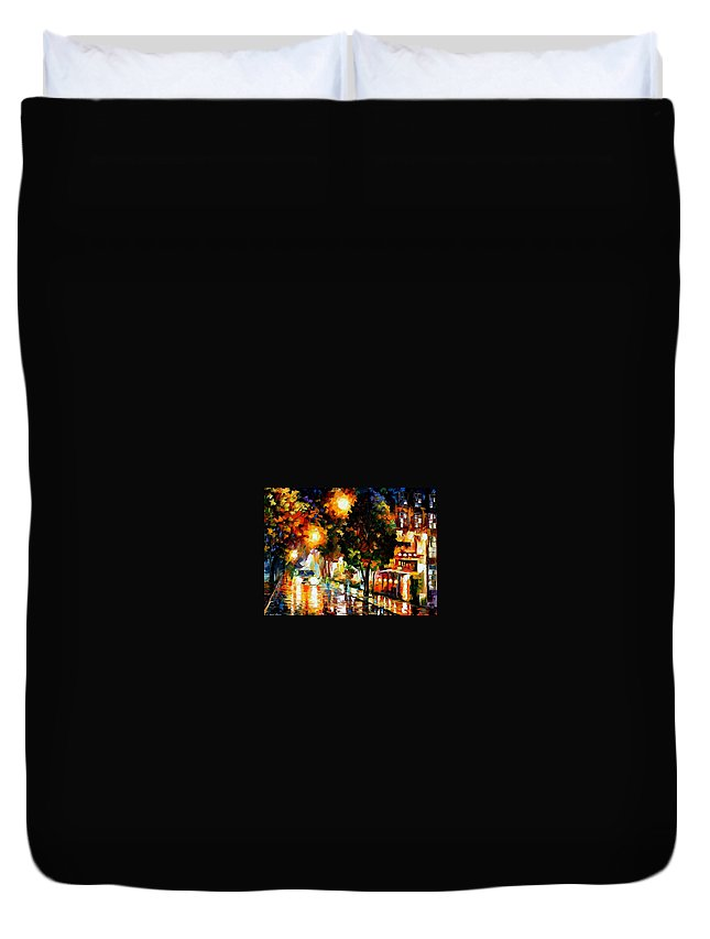 Afremov Duvet Cover featuring the painting The Glowing Night by Leonid Afremov