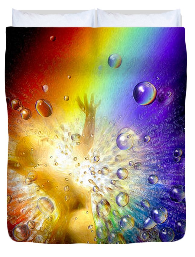 Duvet Cover featuring the painting The Gold At The End Of The Rainbow by Robby Donaghey