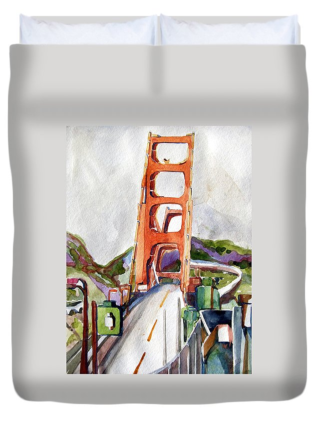 Mindy Newman Duvet Cover featuring the painting The Golden Gate Bridge San Francisco by Mindy Newman