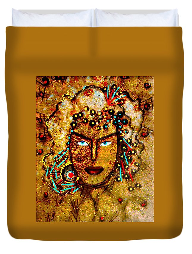Goddess Duvet Cover featuring the painting The Golden Goddess by Natalie Holland