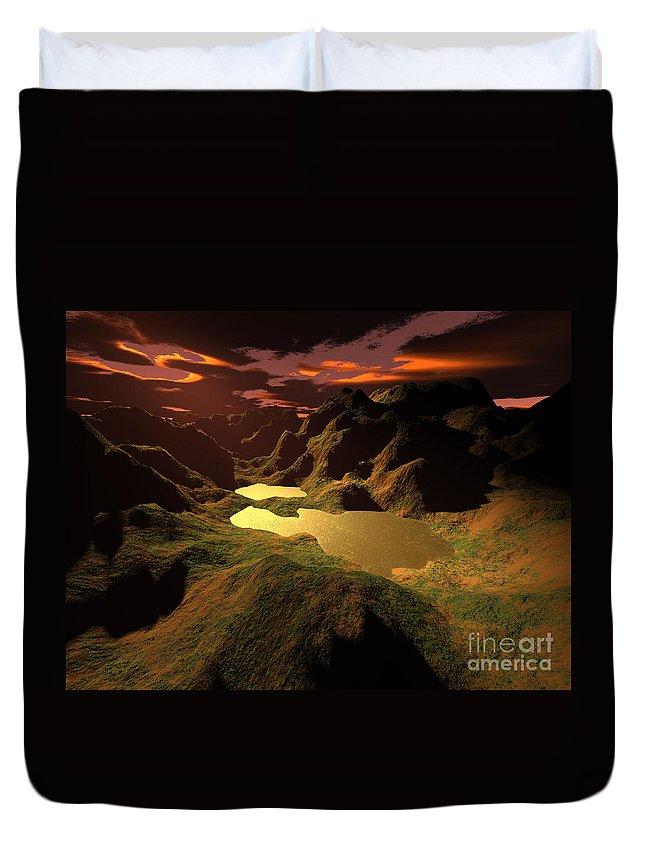 Digital Art Duvet Cover featuring the digital art The Golden Lake by Gaspar Avila