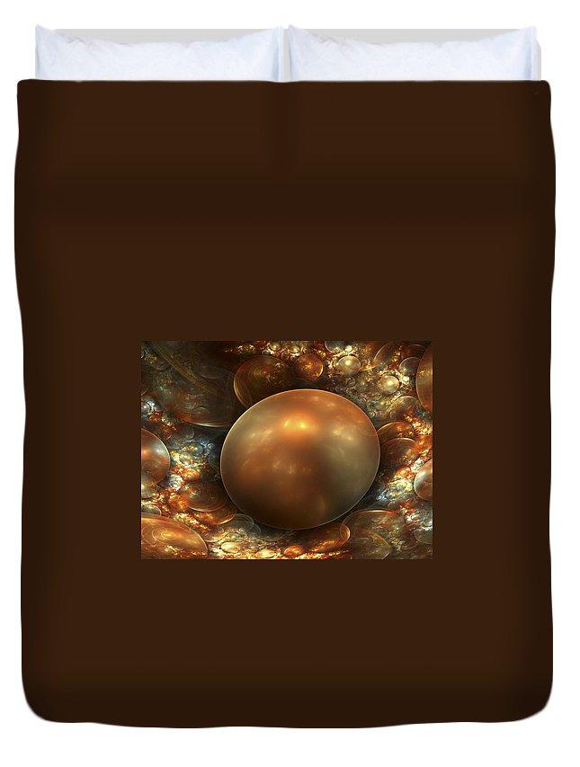Fractal Art Duvet Cover featuring the digital art The Golden Nest by Amorina Ashton