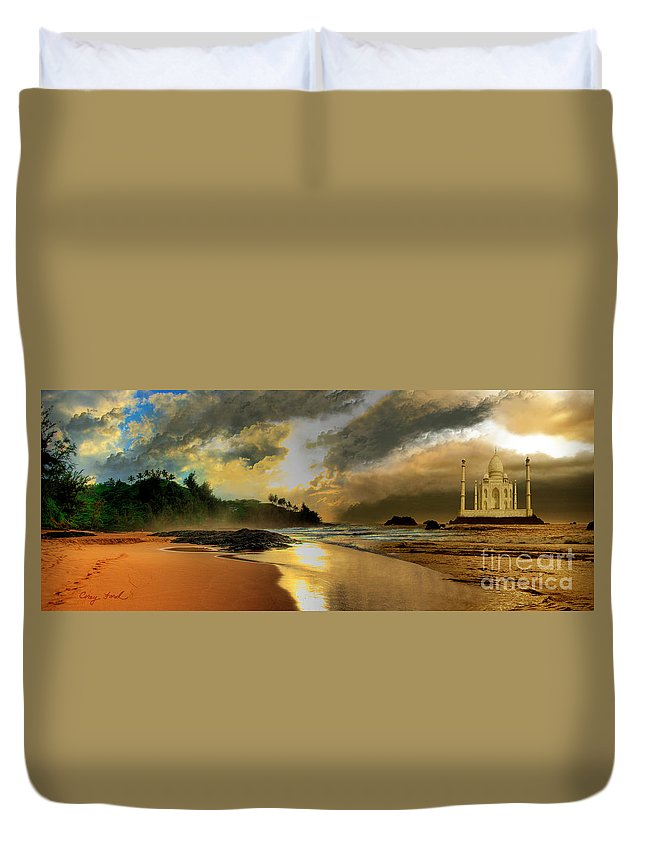 Temple Duvet Cover featuring the painting The Golden Path by Corey Ford