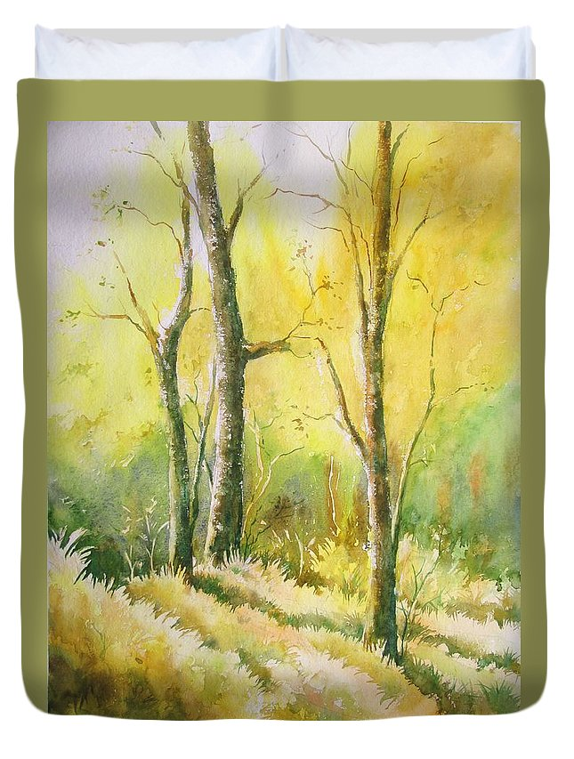 Landscapes Duvet Cover featuring the painting The Golden Trio by Sandeep Khedkar