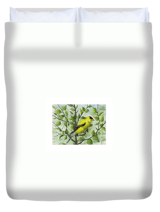 Birds Duvet Cover featuring the painting The Goldfinch by Mary Tuomi