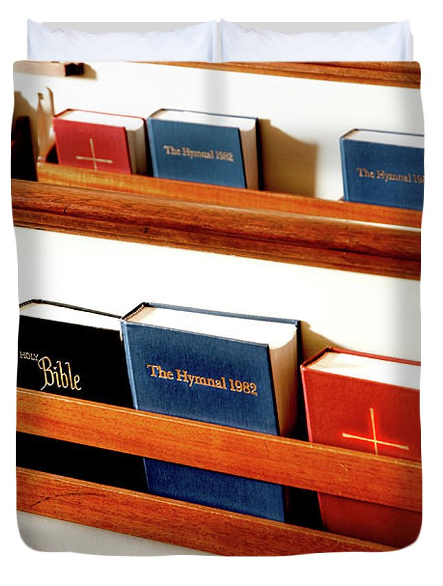 Bible Duvet Cover featuring the photograph The Good Books by Greg Fortier
