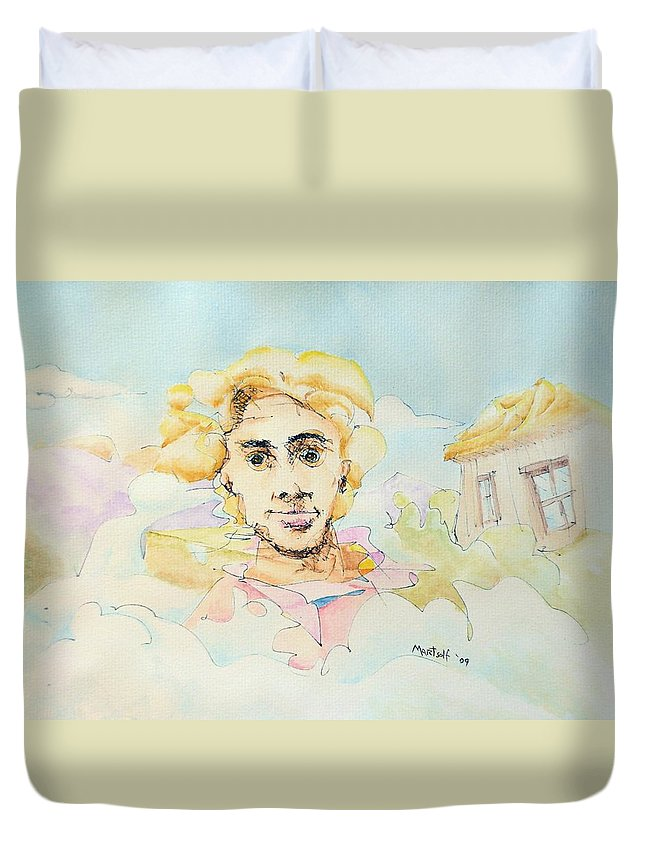 Air Duvet Cover featuring the painting The Good Man by Dave Martsolf