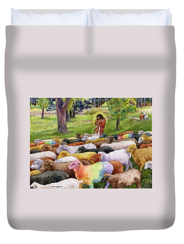 Jesus Painting Duvet Cover featuring the painting The Good Shepherd by Anne Gifford