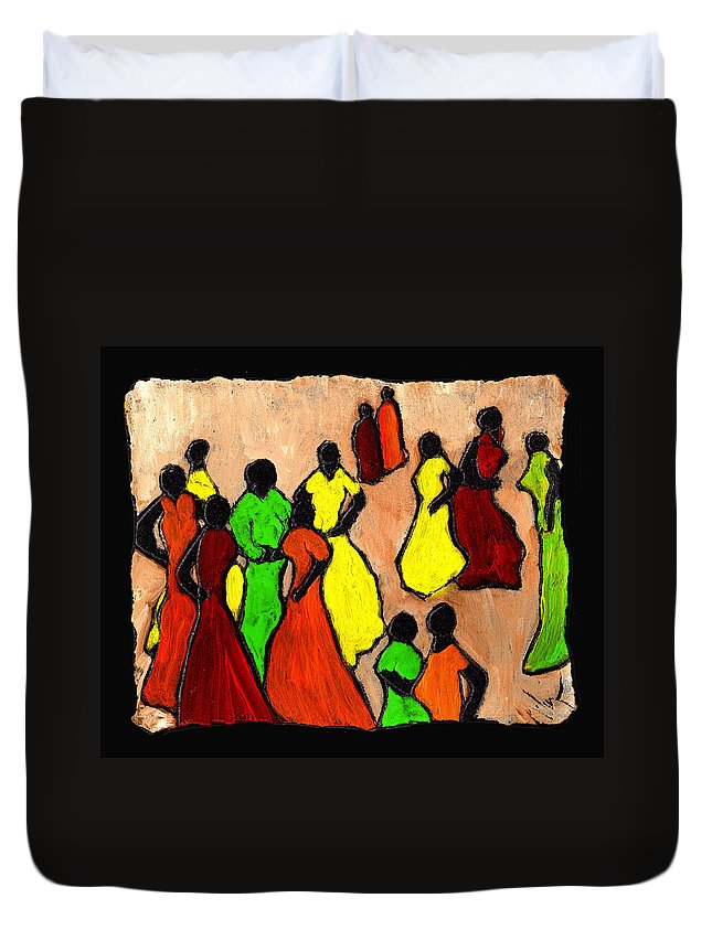 Women Duvet Cover featuring the painting The Gossips by Wayne Potrafka
