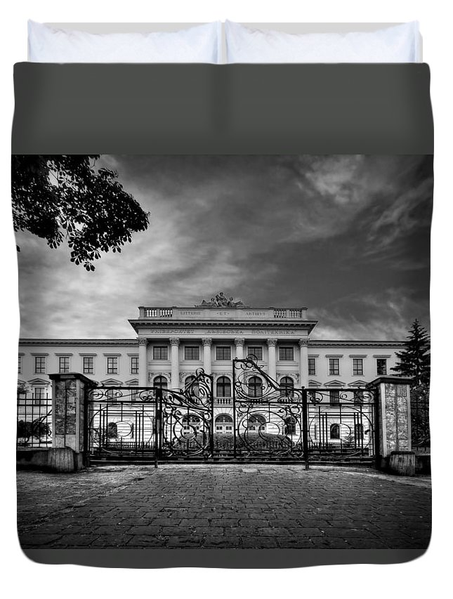 Gate Duvet Cover featuring the photograph The Grand Entrance by Evelina Kremsdorf