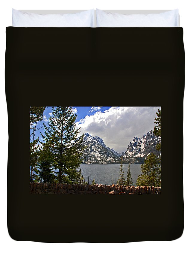 Photography Duvet Cover featuring the photograph The Grand Tetons And The Lake by Susanne Van Hulst