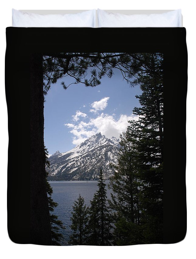 Photography Duvet Cover featuring the photograph The Grand Tetons Lake by Susanne Van Hulst