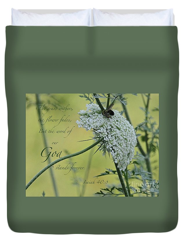 Scripture Duvet Cover featuring the photograph The Grass Withers by Robin Erisman