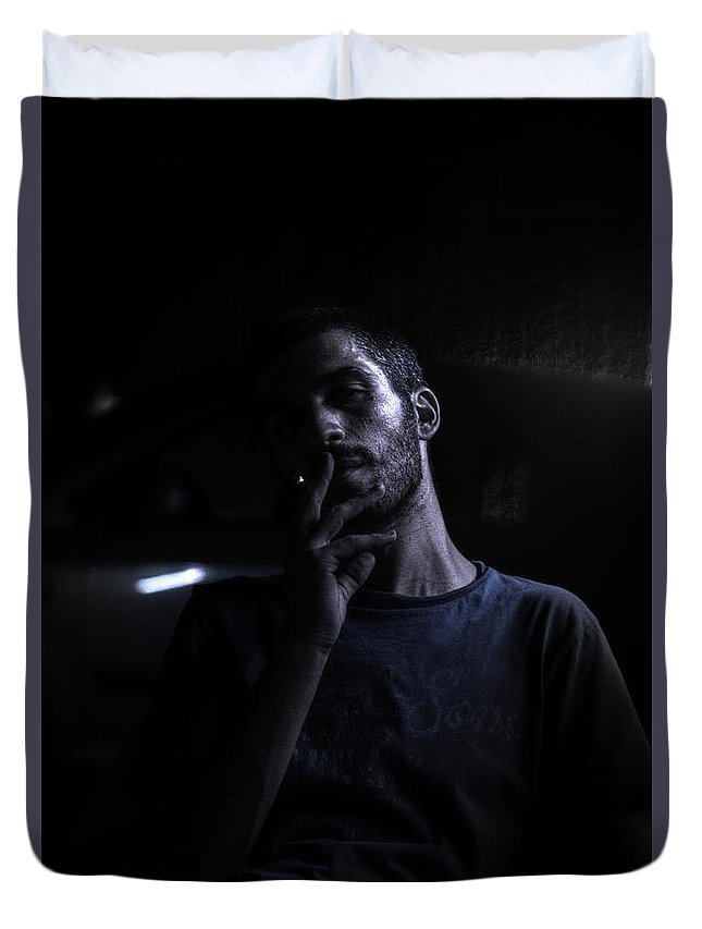 Dark Smoke Man Portrait Duvet Cover featuring the photograph The Graveyard Shift by Semion Kovaliov