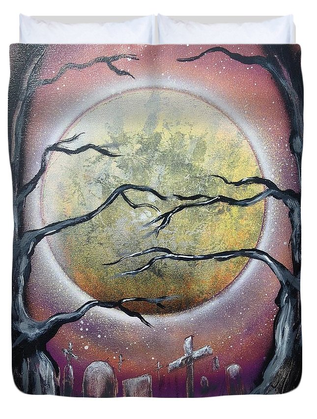 Moon Duvet Cover featuring the painting The Graveyard by Tyler Haddox