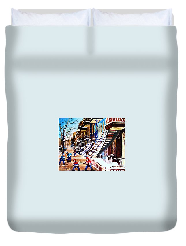 Hockey Duvet Cover featuring the painting The Gray Staircase by Carole Spandau