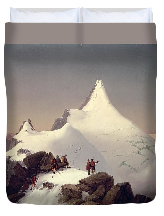 Landscape; Snow; Winter; Alpine; Peak; Climbers; Climber; Climbing; View; Mountaineer; Porter; Cloud; Avalanche; Austria Duvet Cover featuring the painting The Great Bellringer by Marcus Pernhart